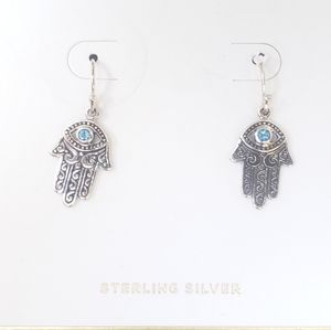 Hand Palm & Eye Sterling Silver Earrings